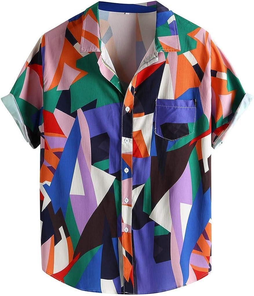 YEBIRAL - Camisa para Hombre, cómoda, a Granel, diseño geométrico, Manga Corta Rosa L: Amazon.es: Ropa y accesorios