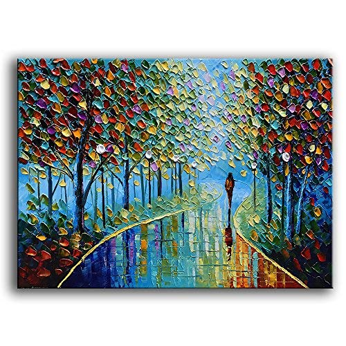 YaSheng Art -Landscape Oil Painting On Canvas Textured Tree Abstract Contemporary Art Wall Paintings Handmade Painting Home Office Decorations Canvas Wall Art Painting 24x36inch - Framed Original Art Oil Painting