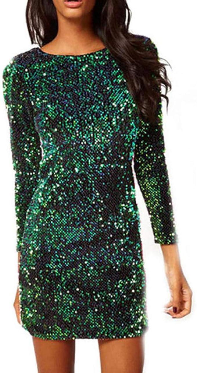 NOBRAND Grünes Paillettenkleid für Damen, sexy Club-Kleider