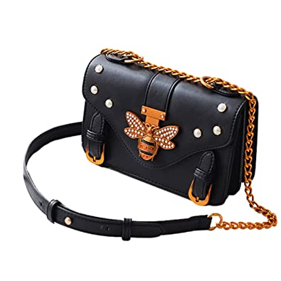 Women PU Leather Cute Bee Handbag Crossbody Bag Pearl Vintage Small Square  Shoulder Bag Formal Daily