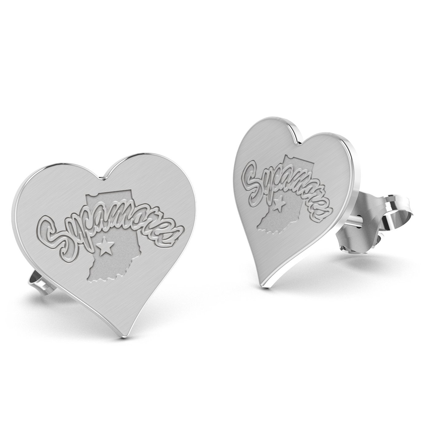Indiana State University Sycamores Heart Stud Earring See Image on Model for Size Reference