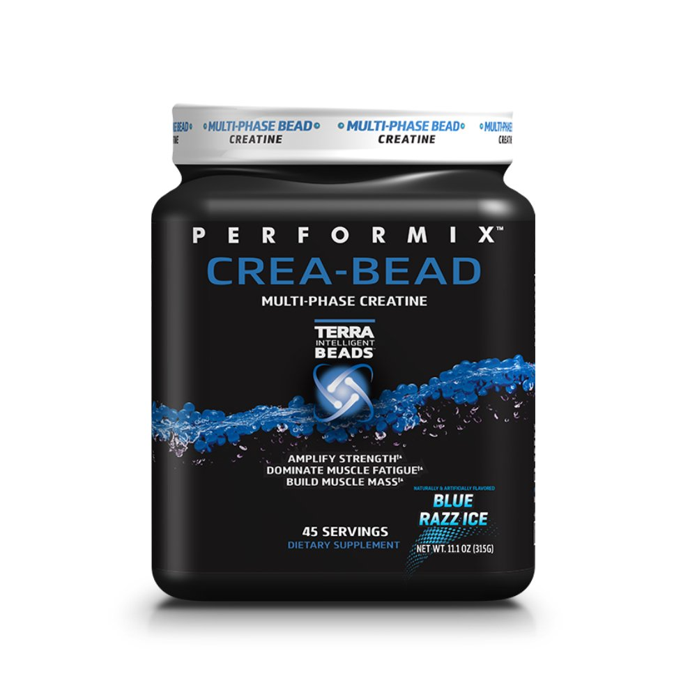 PERFORMIX CREA-BEAD Multi-Phase Creatine Powder, Endurance and Strength, Build Muscle Mass - 45 Servings Blue Razz Ice