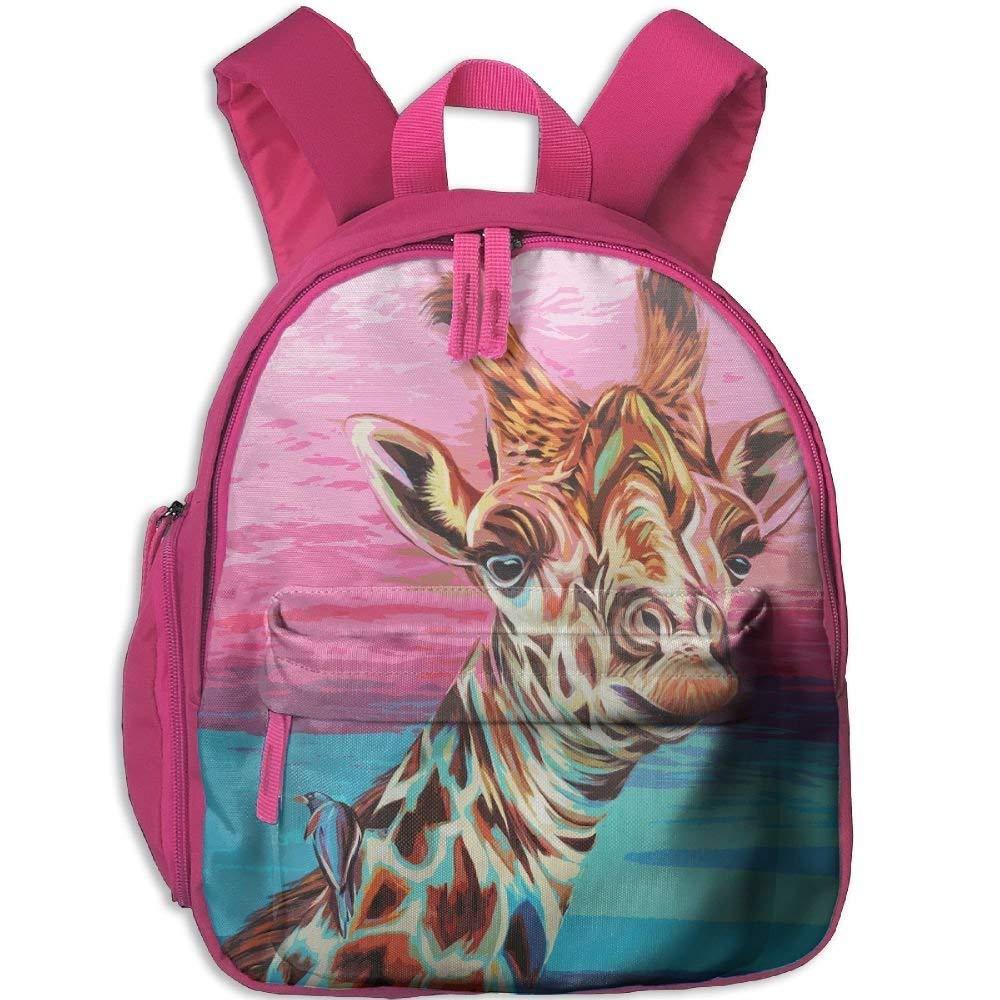 Watercolor Animal Giraffe Double Zipper Waterproof Children Schoolbag with Front Pockets for Kids Boys Girls