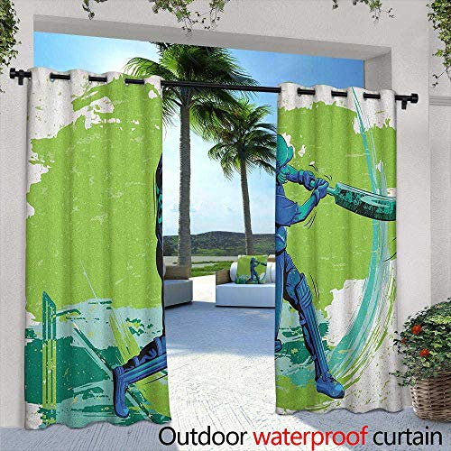 (Marilds Sports Grommet Outdoor Curtains Cricket Player Pitching Win Game Champion Team Paintbrush Effect Simple Stylish 84