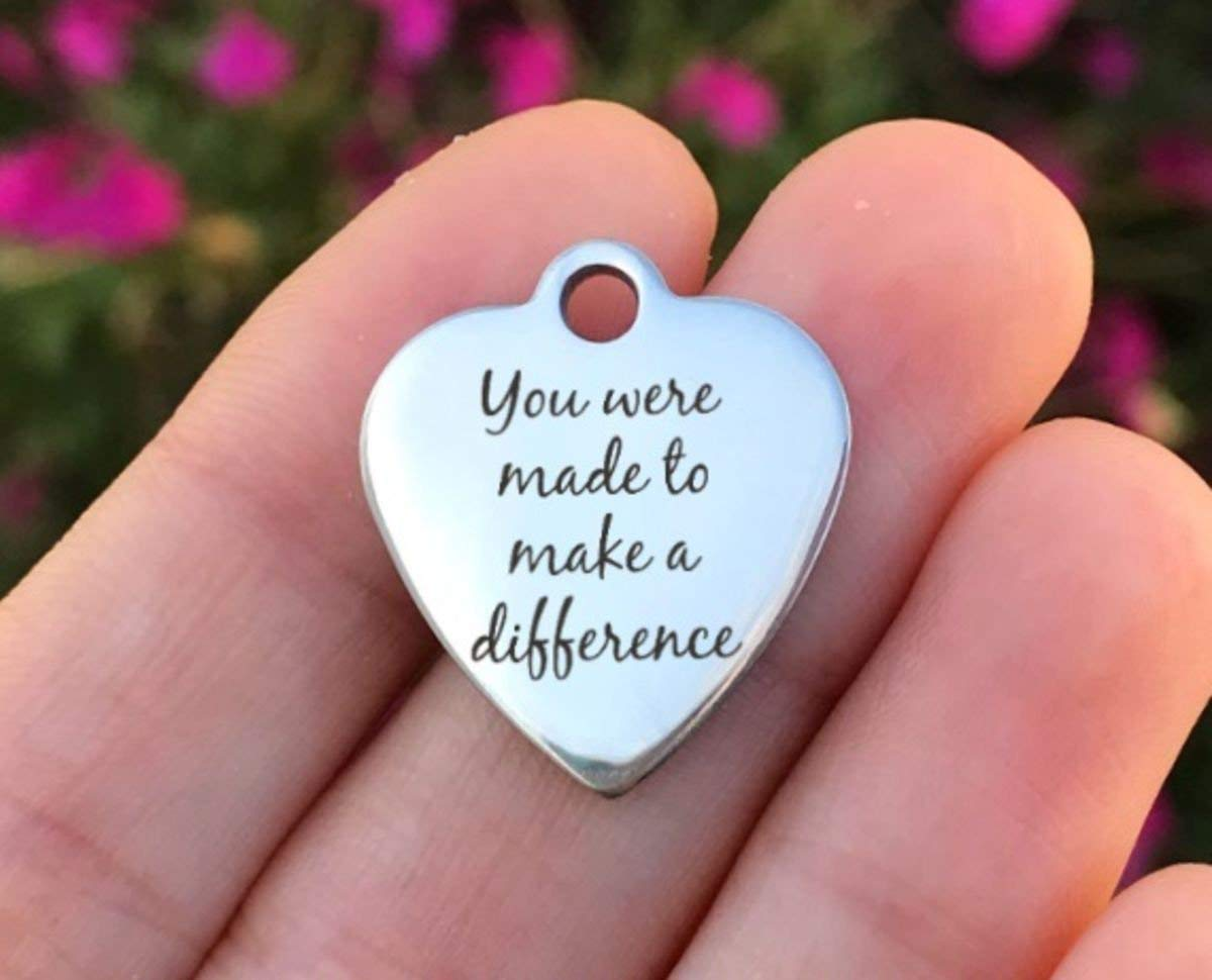 Silver Tone USA ZF479 Quantity Options Laser Engraved You Were Made To Make A Difference Inspirational Stainless Steel Charm