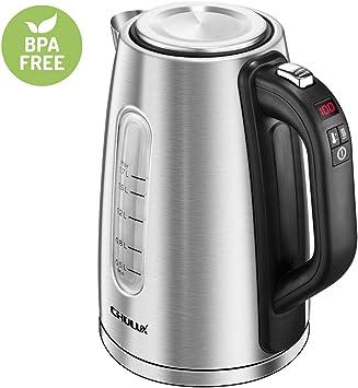 2200W Edelstahl Wasserkocher 1,7L mit Temperaturwahl BPA-FREE LED-Beleuchtung