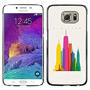 Colorful Printed Hard Protective Back Case Cover Shell Skin for Samsung Galaxy S6 / SM-G920 / SM-G920A / SM-G920T / SM-G920F / SM-G920I ( City Colorful Art Skyscrapers Poly Art )