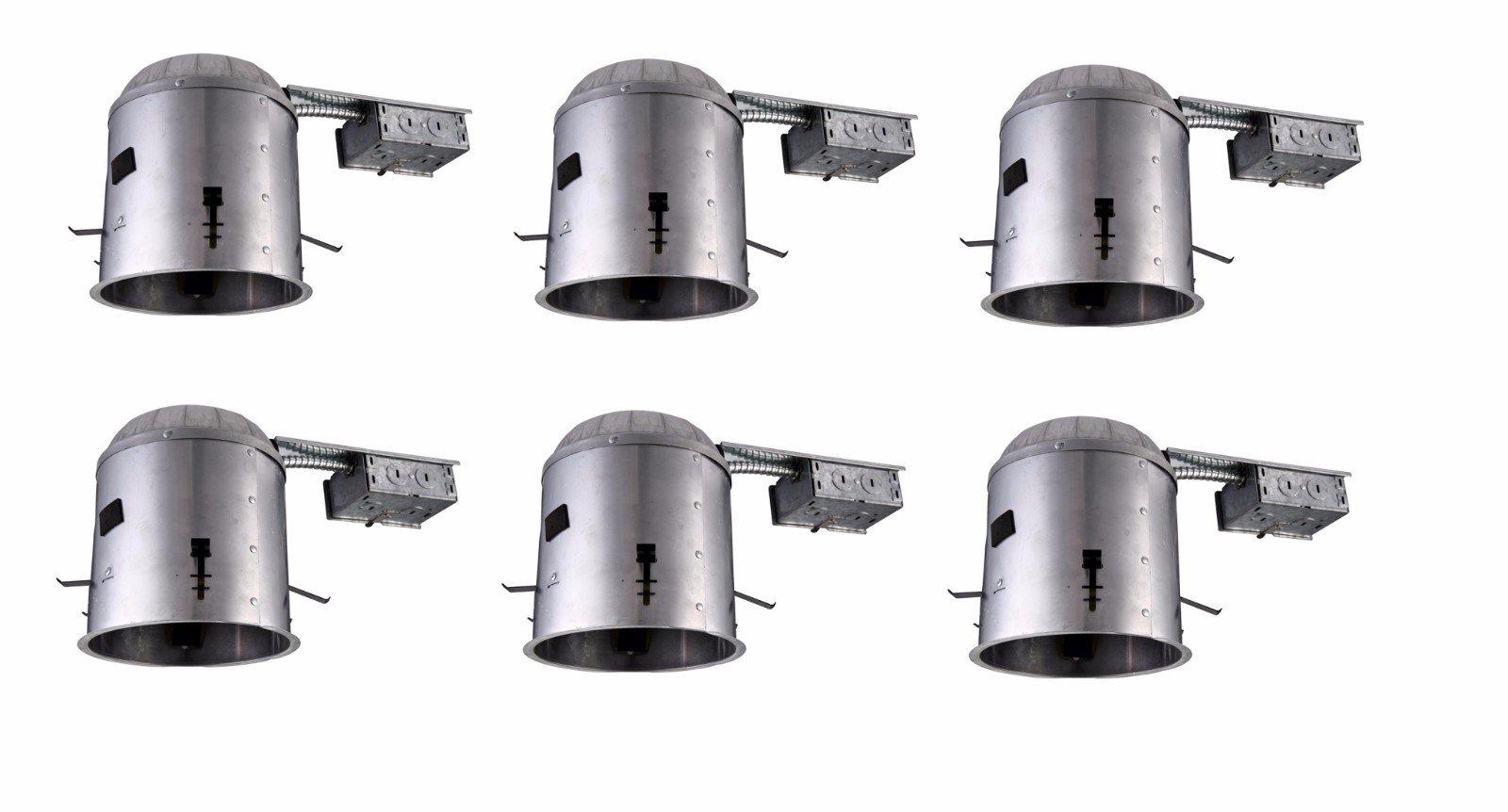 Elitco Lighting ICAT5R-E26-6PK Recessed-Light-Fixture-Housings 5'' Icat Remodel 120V, E26 Socket, fits PAR30/BR30/A19, 75W Max 6 Pack