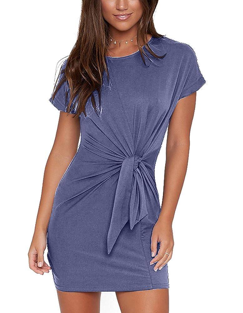 Dark bluee Eliacher Women's Short Sleeve Tieup Waist Casual Loose TShirt Dress