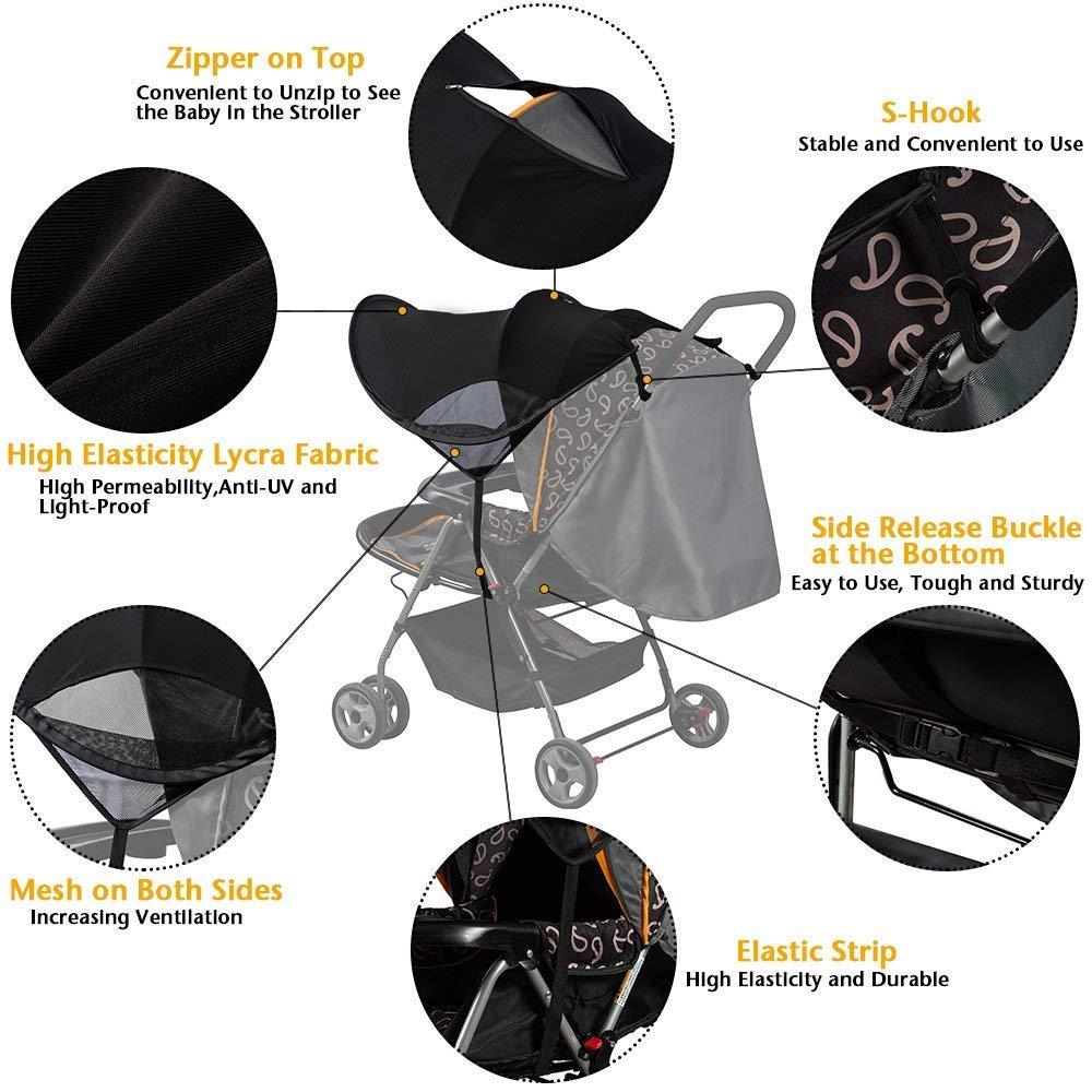 Sonnenschutz Markise Sonnensegel Sonnenverdeck Universal Sonnenschirm Schatten Baldachin f/ür Kinderwagen und Buggy