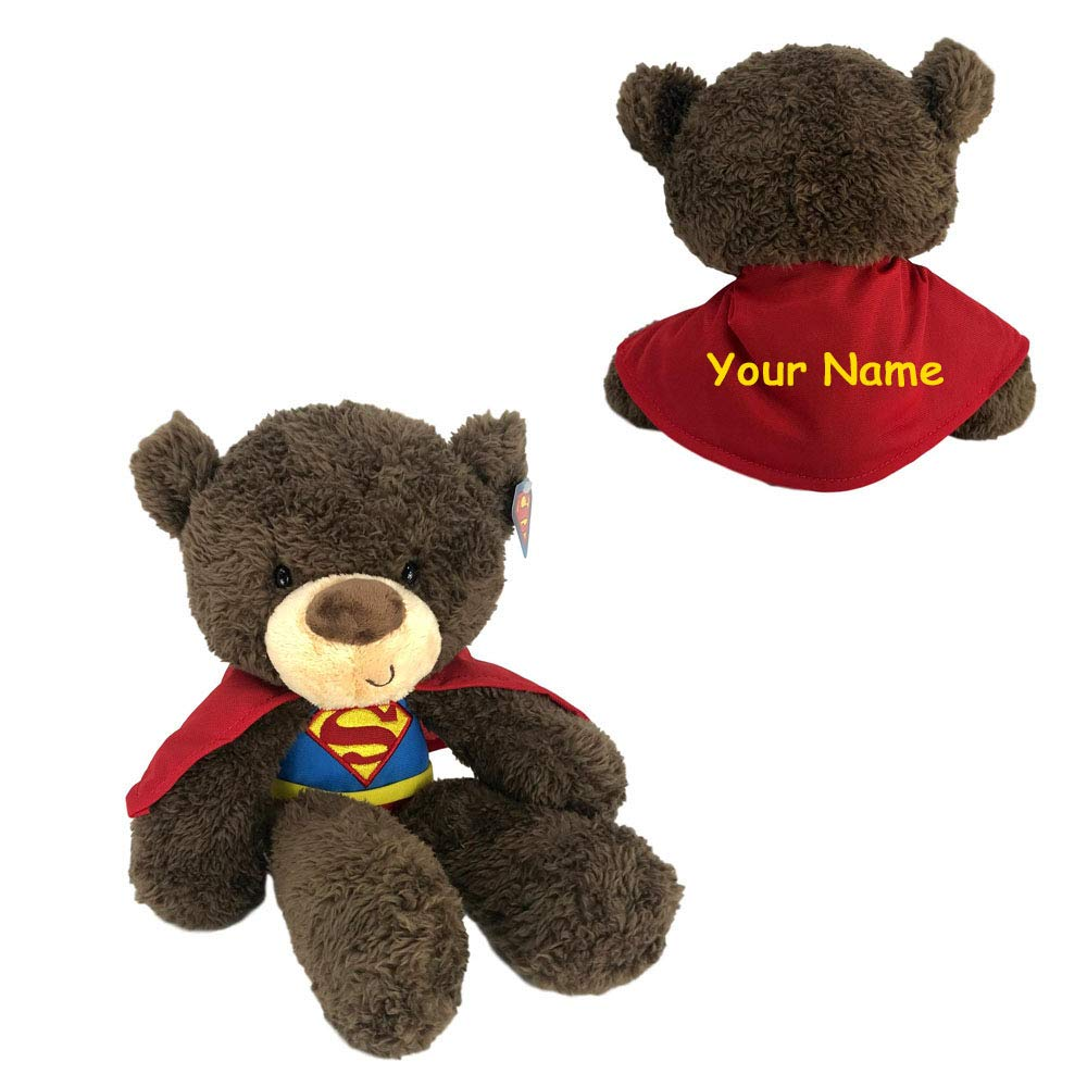 Personalized Fuzzy Bear in DC Comics Superhero Superman Costume Plush Stuffed Animal Toy - 14 Inches by Personalized GUND