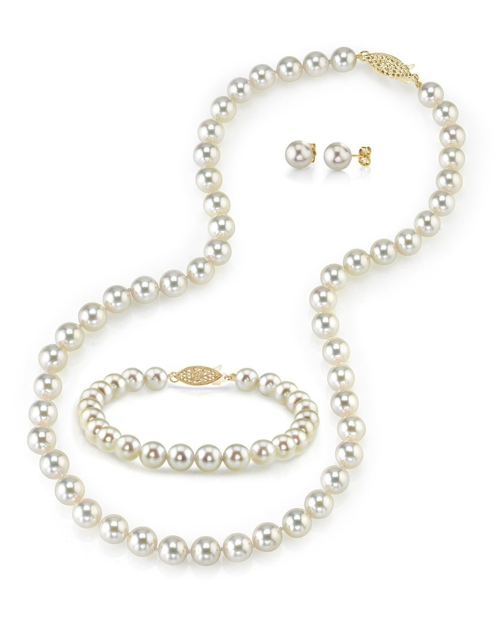 THE PEARL SOURCE 14K Gold 6-6.5mm AAA Quality Round White Akoya Cultured Pearl Necklace, Bracelet & Earrings Set in 17'' Princess Length for Women