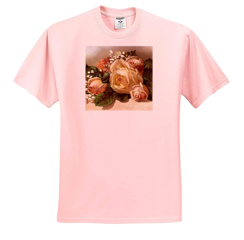 T-Shirts 3dRose VintageChest Ellen Clapsaddle Cute Girl with Big Pink Rose Girls