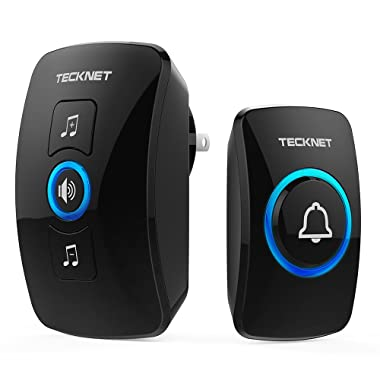 Wireless Doorbell, TeckNet Waterproof Wireless Door Bell Chime Kit with LED Light, 1 Receiver and 1 Push Button, Operating at 820-feet Range with 32 Chimes