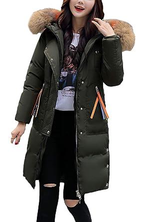 Pluma Mujer Elegante Largos Invierno Parkas Manga Larga con Capucha De Piel Espesar Fiesta Caliente Anchos Fashion Abrigo Outwear Chaqueta Talla Grande: ...