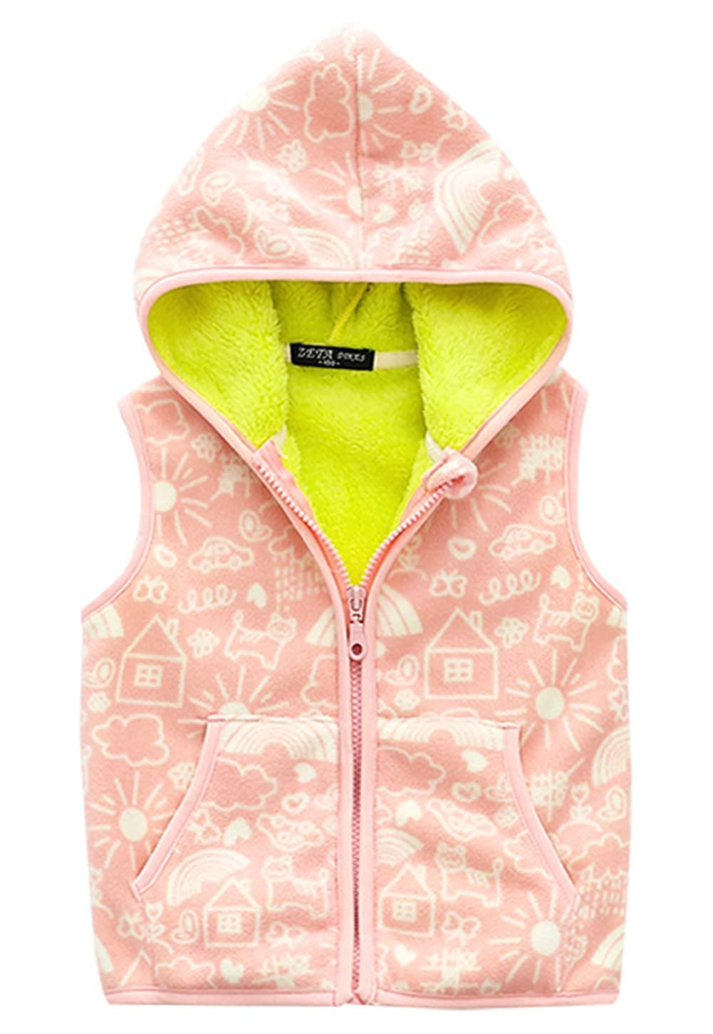 Happy Cherry Girls Winter Vest Cartoon Polar Fleece Warm Zipper Up Hooded Jacket