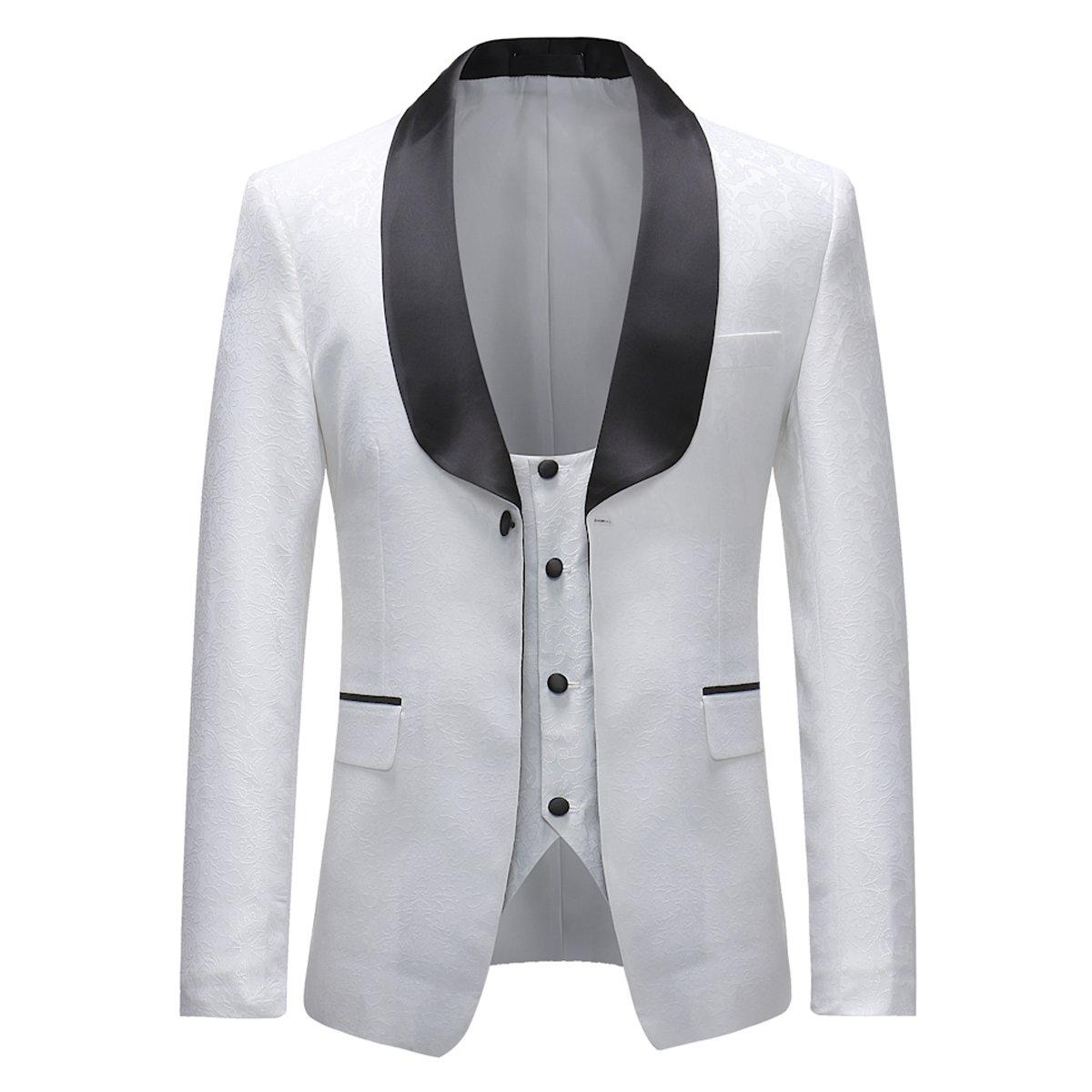 5e8598e7ebf6 Mens Suits 3 Pieces Slim Fit Wedding Dinner Tuxedo Jacket Single Breasted  One Button Suit Blazer Waistcoat Black Trousers: Amazon.co.uk: Clothing