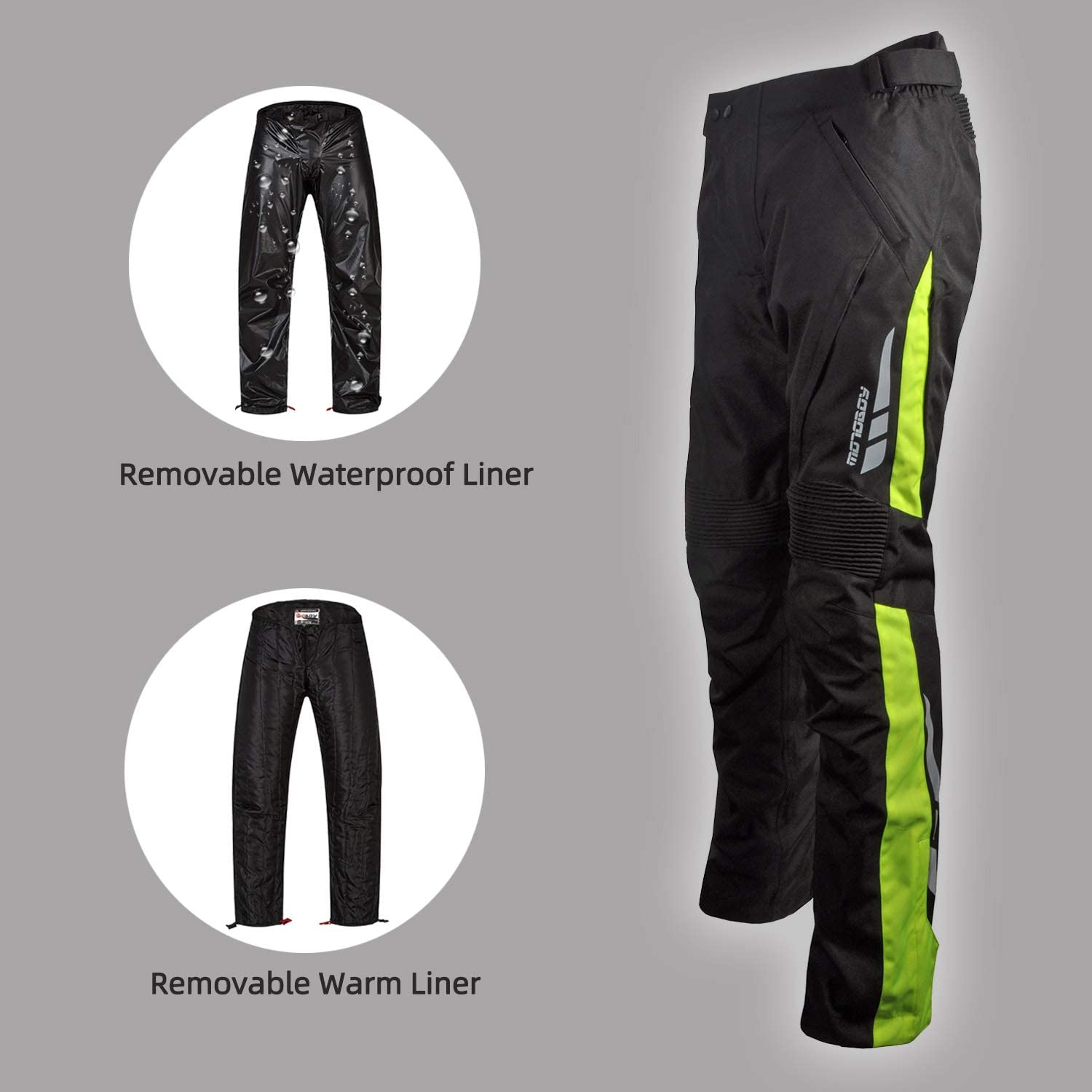 L, Grey//Black Waterproof Thickened Motorcycle Riding Pants,All-Weather Removable CE Armored Windproof Thermal Motorbike Pants for Men