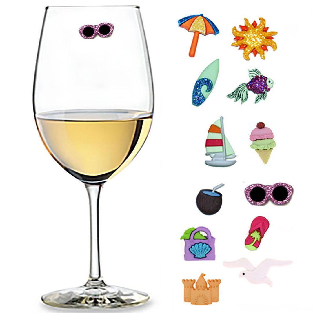 Beach Wine Charms Set of 12 Magnetic Drink Markers for Stemless Glasses, Champagne Flutes and More - Summer Charms by Charm Your Drink, LLC