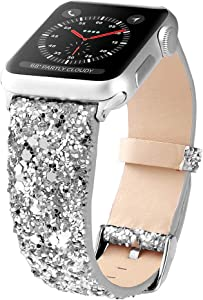 Bling Bands Compatible with Apple Watch Band 38mm 40mm 42mm 44mm Women, Iwatch Strap Shiny Bling Glitter Leather Replacement Wristband for Apple Watch Series 6 5 4 3 2 1 SE Sport Edition (Silver)