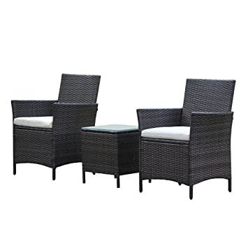 patio rattan outdoor garden furniture set of 3pcs wicker chairs with table