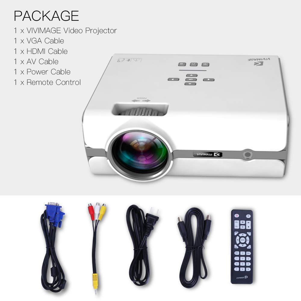 ViviMage C460 Mini Movie Projector, 2500 Lux 1080p Supported, Portable Home Cinema Indoor/Outdoor Use Compatible iPhone/PC/DVD/Fire TV Stick/Video Games by VIVIMAGE (Image #4)