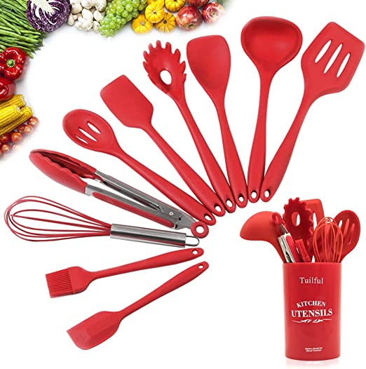14Pcs Red Silicone Kitchenware Kit Non‑Stick Cooking Utensils with Storage Box for Kitchen Silicone Cooking Utensils Set