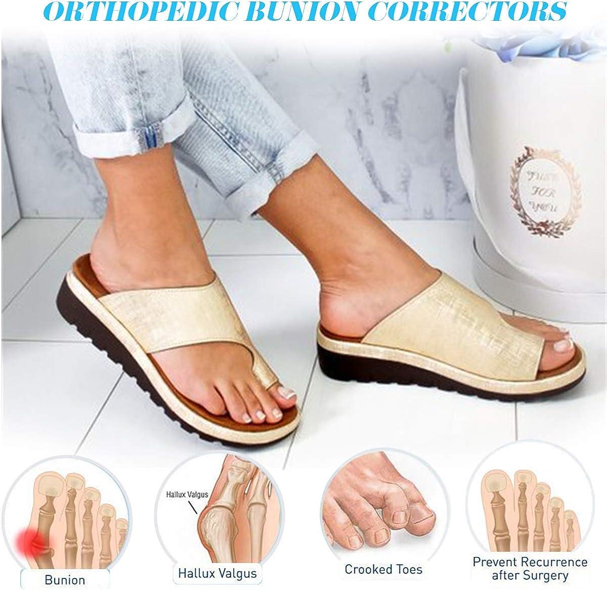 Camfosy/Mules/Femme/Plates,/Tongs/Plage/en/Cuir/PU/Chaususres/Orthopedidque/Sandales Et/é/Plateforme/Pantoufles/Semelle/Confort/id/éal/pour/Hallux