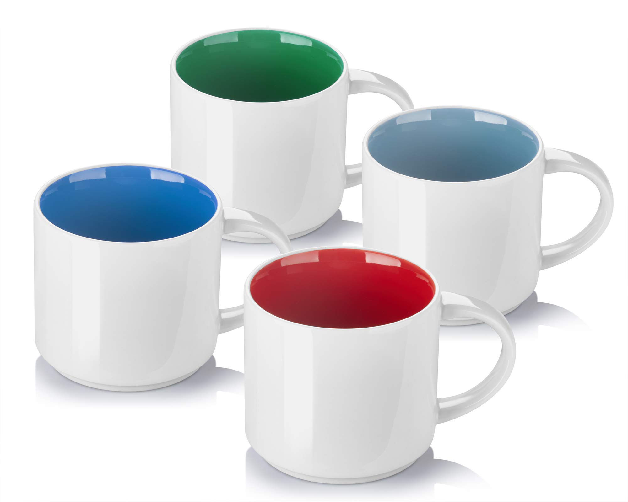 DOWAN Coffee Mugs, Porcelain Tea and Coffee Mug Set, Multicolor Inside-Set of 4 (16 oz)