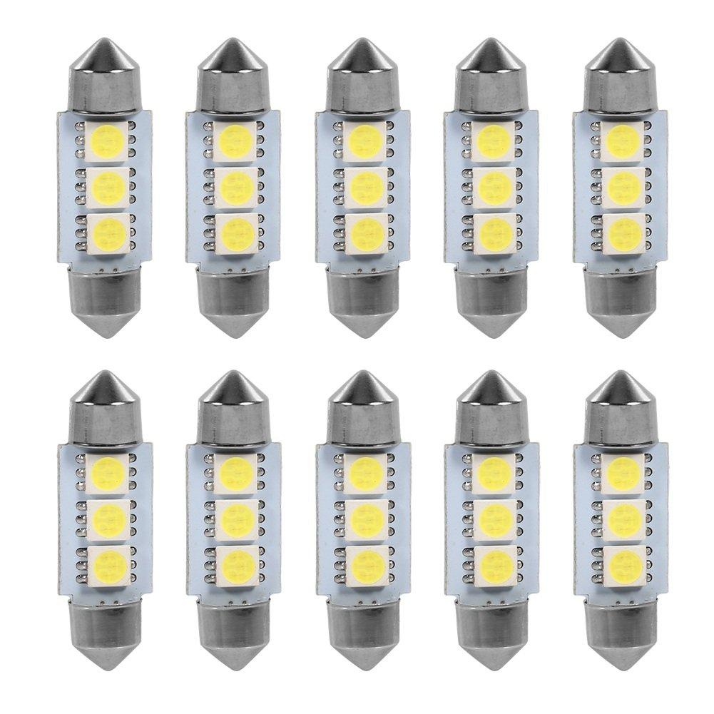 VGEBY 1 Paquet De 10 Ampoules LED Feux De Lecture É clairage Inté rieur Voiture Lampe De Lecture Auto 3 SMD LED 5050 LED Lumiè re Blanche 36MM