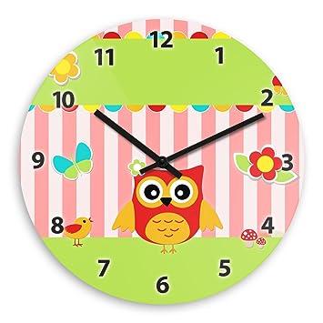 Kinderzimmer Uhr   Amazon De Wanduhr Mit Eulen Motiv Rot Fur Madchen