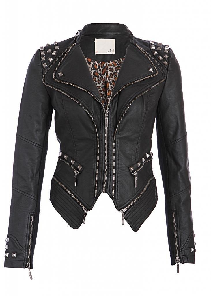 Pretty Attitude Rocking Cool Black Studded Punk Style PU Faux Leather Slim Fit Moto Jacket