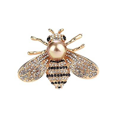 d43a3ce3220 Buy Ophlid Fashion Bee Brooch Pins with Peal, Designer Brooch Pins, Wedding  Small Rhinestone Brooch Pins for Women (Gold) Online at Low Prices in India  ...