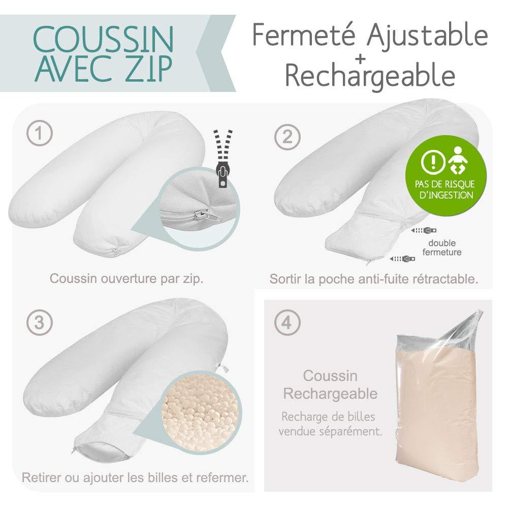 Grand coussin d allaitement 200cm Gris Rose d/éhoussable au volume ajustable Modulit