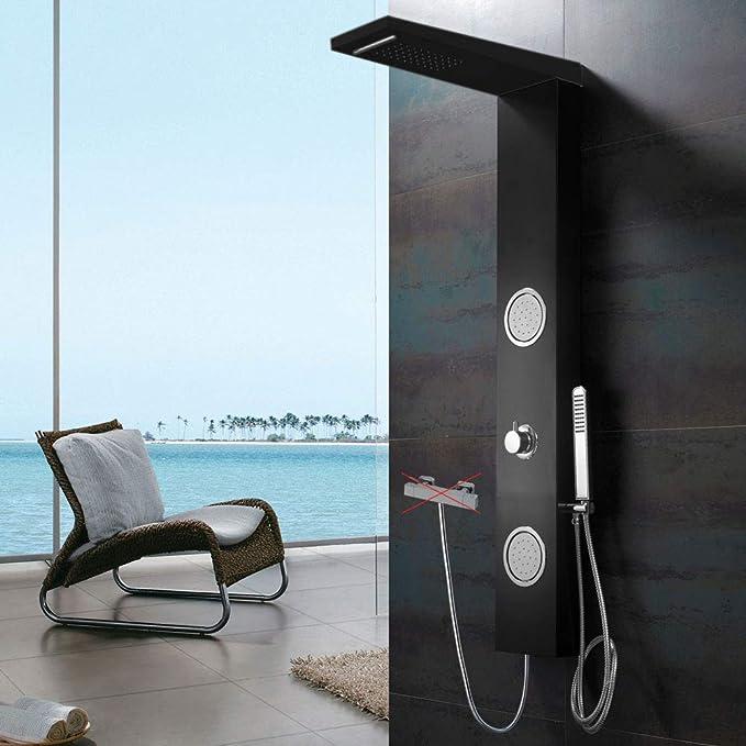 LED Duschpaneel Aluminium Schwarz Duschsäule Wasserfall Brausearmatur Sanlingo