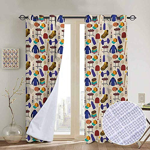 (NUOMANAN Blackout Curtain Panels Window Draperies Sport,Competitive Activities Goods Pattern Weights Coats Bowling Pins Ping Pong Gymnastic,Multicolor,for Bedroom, Kitchen, Living Room 84