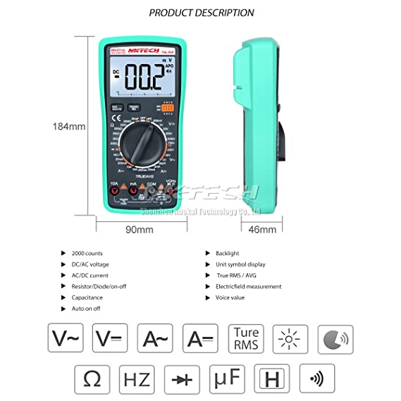 NKTECH NK-51F Voice Value True RMS Digital Multimeter Multi Tester ...