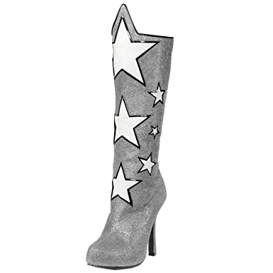 7ea64bd0bbe Amazon.com  Womens Knee High Boots Star Shoes Wonder Woman Silver Blue or Red  4 Inch Heels  Clothing