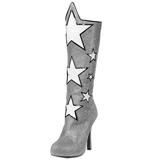 f8a6265f77029 Amazon.com: Womens Knee High Boots Star Shoes Wonder Woman Silver ...