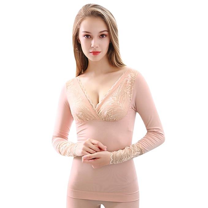 YiLianDa Mujer Cuello V Encaje Conjunto Termico Invierno Chaqueta & Pantalones Larga Ropa Interior Conjunto De