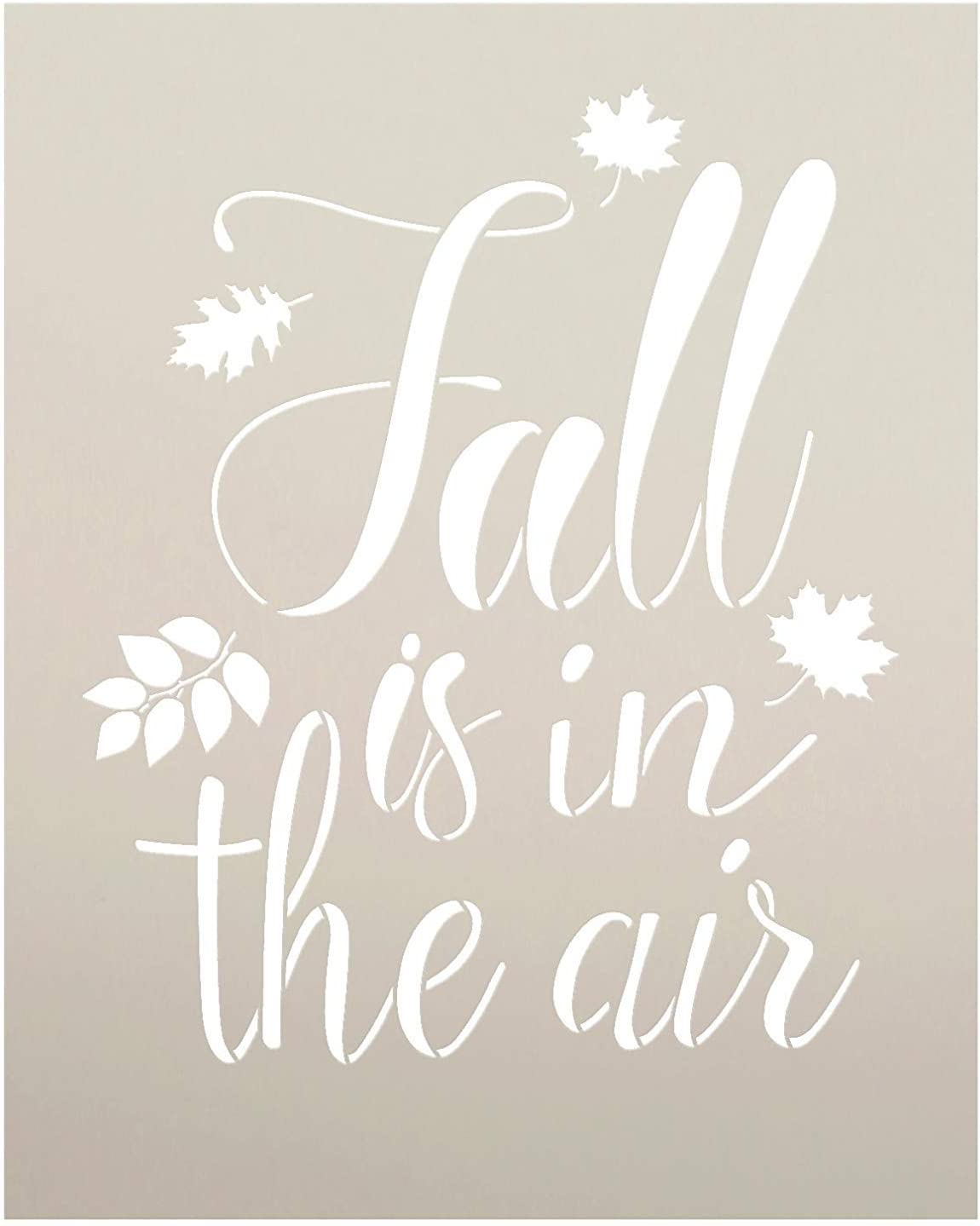 "Fall is in The Air Stencil by StudioR12 | Script Letters | Reusable Word Template for Painting on Wood | DIY Home Decor Sign | Fall Leaves Autumn |Chalk, Mixed Media and Craft |Select Size (8"" x 10"")"