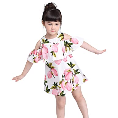7ebacea05e2 Amazon.com  Kimocat Girls Dress Lemon Printed Sleeveless Sundress Casual  Princess Summer Outfit  Clothing