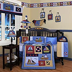 GEENY Boy's Boutique Baby Boy Sailor 13 Piece Baby Crib Bedding Set