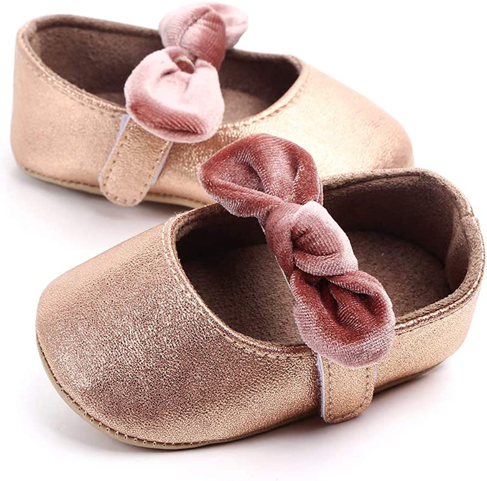 Enteer Baby Girls Mary Jane Flats Anti-Slip Rubber Sole Bow Toddler Princess Shoes