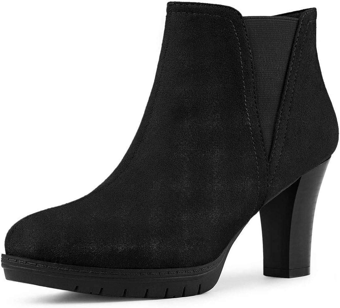 Allegra K Women's Round Toe Block Heels Chelsea Ankle Boots