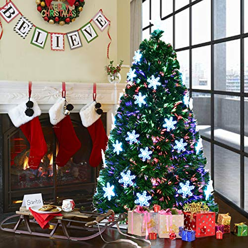 COSTWAY 6FT Fibre Optic Christmas Tree, Artificial Green Xmas Tree with Metal Stand, Light Snowflakes and Top Star, Multicoloured Christmas Decoration and Gift (6FT/1.8M)