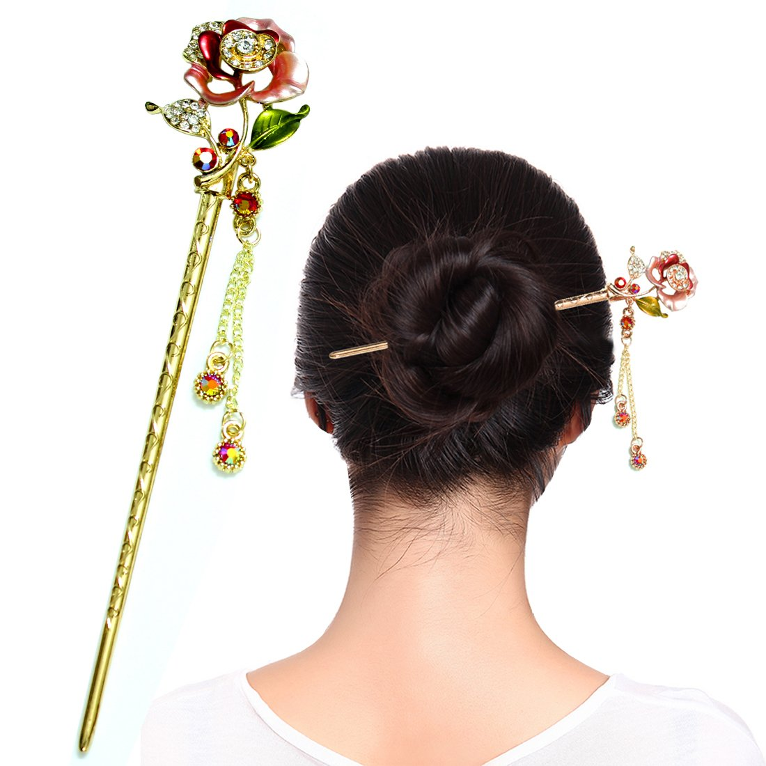 """Fashion & Lifestyle Hair Decor Chinese Traditional Style Hair Sticks Shawl Pins Picks Pics Forks for Women Girls Hair Updo Making Accessory 6"""" with Flower, Pink"""