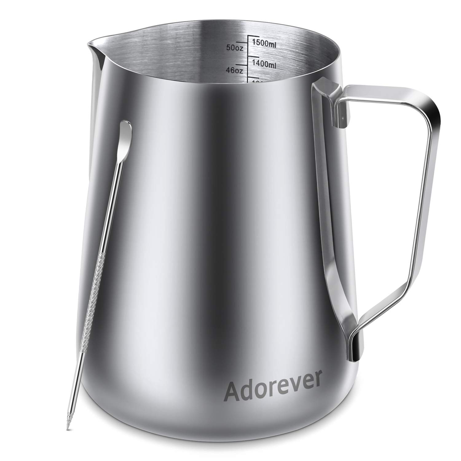 Milk Frothing Pitcher 1500ml/50oz Steaming Pitchers Stainless Steel Milk Coffee Cappuccino Latte Art Barista Steam Pitchers Milk Jug Cup with Decorating Art Pen, Sliver by Adorever