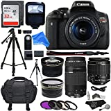 Canon EOS Rebel T6i 24.2 MP Digital SLR Camera 18-55mm STM Lens + Canon EF 75-300mm f/4-5.6 III Lens + .43x HD Wide Angle Lens & 2.2X Telephoto Lens + 32 GB + Tripod + DigitalAndMore Accessory Bundle