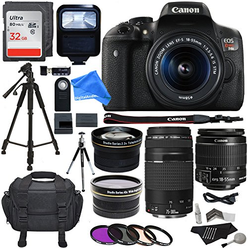 Canon EOS Rebel T6i 24.2 MP Digital SLR Camera 18-55mm STM Lens + Canon EF 75-300mm f/4-5.6 III Lens + .43x HD Wide Angle Lens & 2.2X Telephoto Lens + 32 GB + Tripod + DigitalAndMore Accessory Bundle For Sale